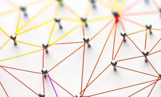 network of colourful string