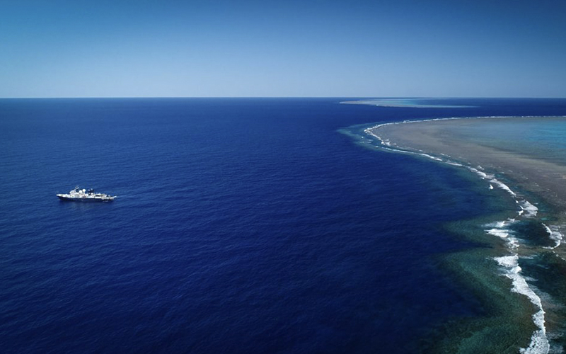 The RV Falkor ship conducting a seabed survey in the Great Barrier Reef in Australia.